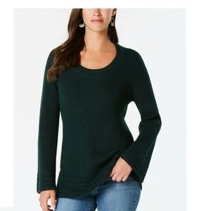 Style & Co L Dark Green Textured Sweater 4AB47